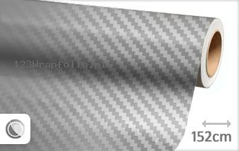 Zilver chroom 3D carbon wrapfolie